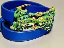 TORY BURCH Kissing Frogs Green Enamel Blue Leather Double Wrap Bracelet