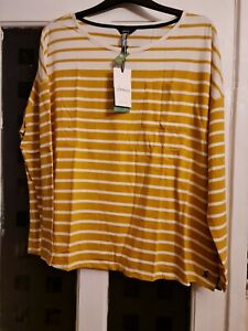 JOULES WOMENS MARINA JERSEY TOP. BNWT. COLOUR.CREAM/GOLD STRIPE. SIZE. 12