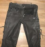 """ N.I.C.E "" Schnür- LEDERJEANS / Biker- Lederhose in schwarz ca. W28"" /L32"""