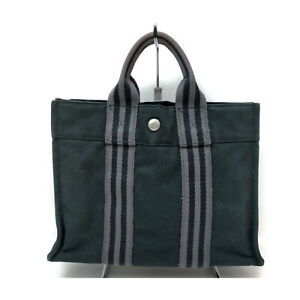 Hermes Tote Bag Fourretout Black Canvas 1610096