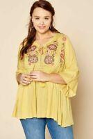 Plus Size Women Babydoll Boho Peasant Mustard Embroidered  Top Tunic 1X 2X 3X