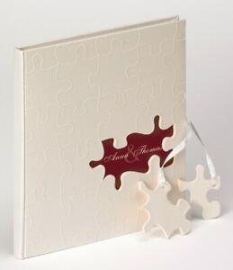 Hochzeitsbuch Gästebuch Hochzeit Album Puzzle 23x25cm Hochzeitsalbum weiß