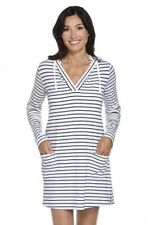 Coolibar - UPF 50+ Women's Poolside Cover Up Hoodie - Navy/White Stripe Size...