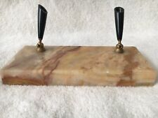 Vintage Gold and Brown Marble stone Base Double Pen holder brass tone