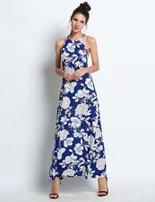 """BINKA"" STUNNING LADIES SIZE L - 12 BLUE FLORAL RICH COTTON SUMMER MAXI DRESS"