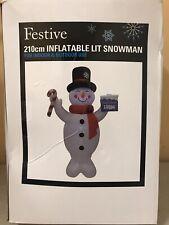 210cm INFLATABLE LIT SNOWMAN INDOOR OUTDOOR FESTIVE CHRISTMAS DECORATION 7FT