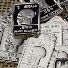 Lot Lot of 30 X 1 Gram  .999  Fine Silver Bar Bullion  / Skull  WPT328 oz