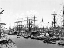Le navi a vela a asiakai AMBURGO GERMANIA 1895 Old BW FOTO STAMPA POSTER 719bwlv