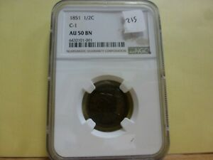 1851 Braided Hair Half Cent - NGC AU 50 BN #001