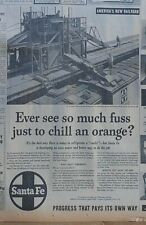 Large 1953 newspaper ad for Santa Fe Rr- Icing machine for refrigeration cars