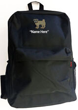 PUG Dog and Personal Name Embroidered Monogrammed Stitched Backpack