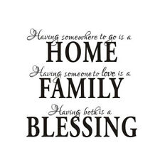 Home Family Blessing Wall Sticker Decal Removable Mural Home Decor Q4V3