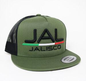 Gorra Jalisco JAL Mexico Trucker Snapback Hat Olive/Black Adjustable