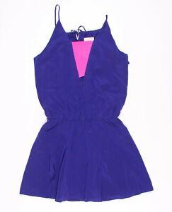 Michelle Mason Silk Blue & Pink Mini Skater Dress Size 2
