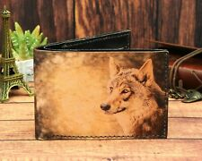 Wolf Coyote Art Dog Genuine Leather Wallet Handmade Money Credit Card ID Holder