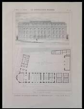 PARIS, CASERNE POMPIERS MENILMONTANT - 1900 - PLANCHE ARCHITECTURE - DOILLET