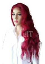 INDIA | DARK RED | SLEEK FASHION IDOL 101 LONG WAVY SYNTHETIC LACE FRONT WIG