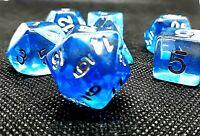 RPG 7-teilig Würfel Set Poly DND Blau Rollenspiel w4-w20 dice4friends Tabletop