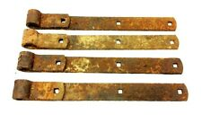 Set of Four Antique Old Metal Iron Rusted Barn Door Straps Hardware Parts