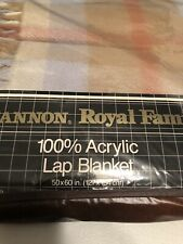 "VTG Cannon Royal Family Plaid Acrylic Blanket Lap Loom Woven 50"" X 60"" NEW"