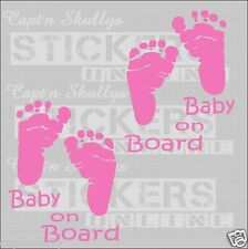 BABY FOOTPRINTS DECAL x2 110x85mm Capt'n Skullys Stickers Online MPN 1315 m/purp