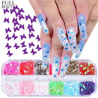 Fashion 3D Laser Butterfly Sequins Nail Art Flakes Glitter Foil Decor 12 Colors