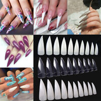 100/600Pcs Clear Natural White Stiletto Point French Acrylic UV Gel Nail Tips