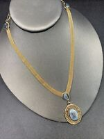 """Vintage 1960's Gold tone Delicate Flat Mesh  Chain Grey Glass Drop Necklace 16"""""""