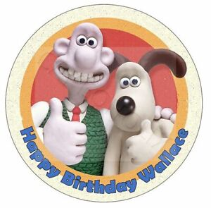Wallace & Gromit Edible Birthday Round Cake Topper With Personalised Message