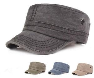 Mens Womens Adjustable Army Plain Hat Cadet Military Baseball Cotton Cap Visor