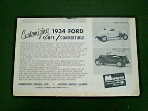 Monogram PC72 34 Ford Customizing Original Model Car Instruction sheet from 1962
