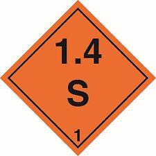 Health and Safety Hazard Sticker Explosive 1.4S Sticker Orange