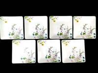 """CRATE & BARREL Set of 7 White Floral Square Salad Lot  Dessert Plates 6"""""""