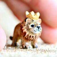 Lion King Simba Necklace Porcelain Charm Hand Painted Pendant & Gold Chain