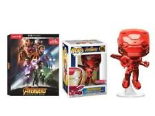 Target Exclusive Infinity War Bundle - Red Chrome Iron Man Funko Pop, 4K Bluray