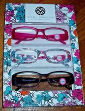 NEW MacBeth Collection 3 PAIRS Reading Glasses Pink/FLORAL/Black Readers +2.50