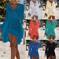 Sexy Women's Bathing Suit Crochet Tassel Swimwear Bikini Cover Up Beach Dress