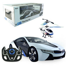 Licensed 1:14 Bmw I8 Rc Car + 4Ch Electric Radio Control Helicopter Kid Toy Gift