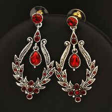 Gothic Style Sexy Red/Blue Crystal Chandelier Earrings For Women Vintage Jewelry