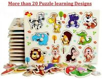 Kids Wood Puzzles Learning Toys Color Alphabets Numbers Shapes Animals Vehicles