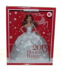 2013 Mattel Holiday Barbie Doll Brunette 25th Anniversary w Stand NEW NIB