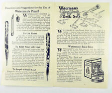 L. E. Waterman Company Fountain Pen Instructions