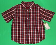 3t Nwt Greendog Red Navy Check Short Sleeve Dress Shirt Top Boys