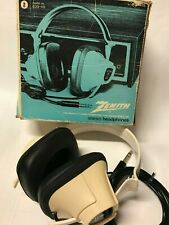 Vintage Retro ZENITH Headphone Over Ear Model 839-49 White/Black WORKS