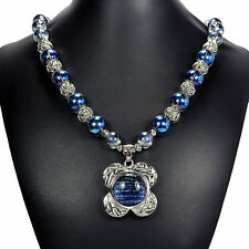 Blue Dichroic Glass Pendant Necklace Handcrafted Jewellery Tantric Tokyo UK