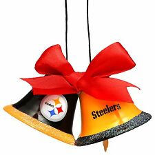 Pittsburgh Steelers Christmas Tree Holiday Ornament New - 2 Metal Bells with bow