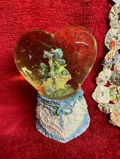 Vtg Heart Shape Musical Snowglobe Plays The Sound of Music Pale Pearlescent Blue