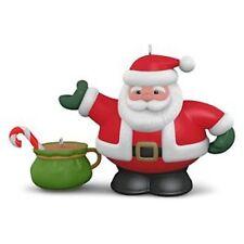 2016 Hallmark Ornament TEA TIME Porcelain Santa & Bag #1 Series Set 2