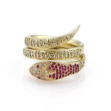 Estate 1.05ct Diamond & Ruby 18k Yellow Gold Snake Wrap Ring Size - 9