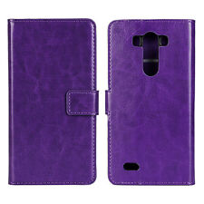 Purple Genuine Leather Wallet Card Cash Case Cover Stand for LG G3